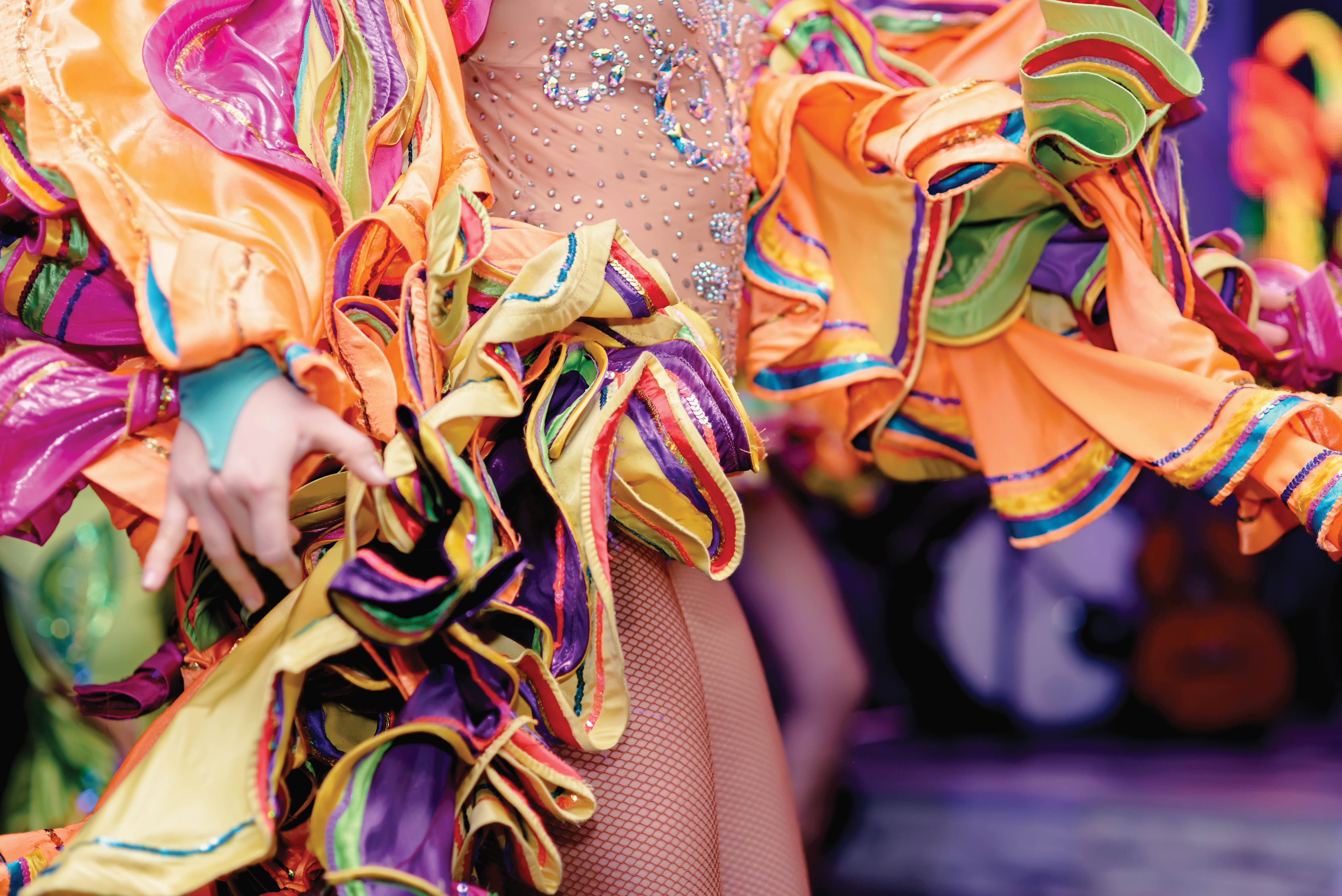 close-up of a dancer's skirt from Rio's Carnavale celebration