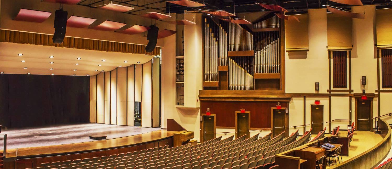 Pfleeger Concert Hall, our 800-seat venue in Wilson Hall, while empty