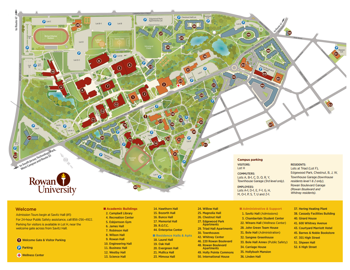 Rowan University Campus Map Directions & Parking | College of Performing Arts | Rowan University Rowan University Campus Map