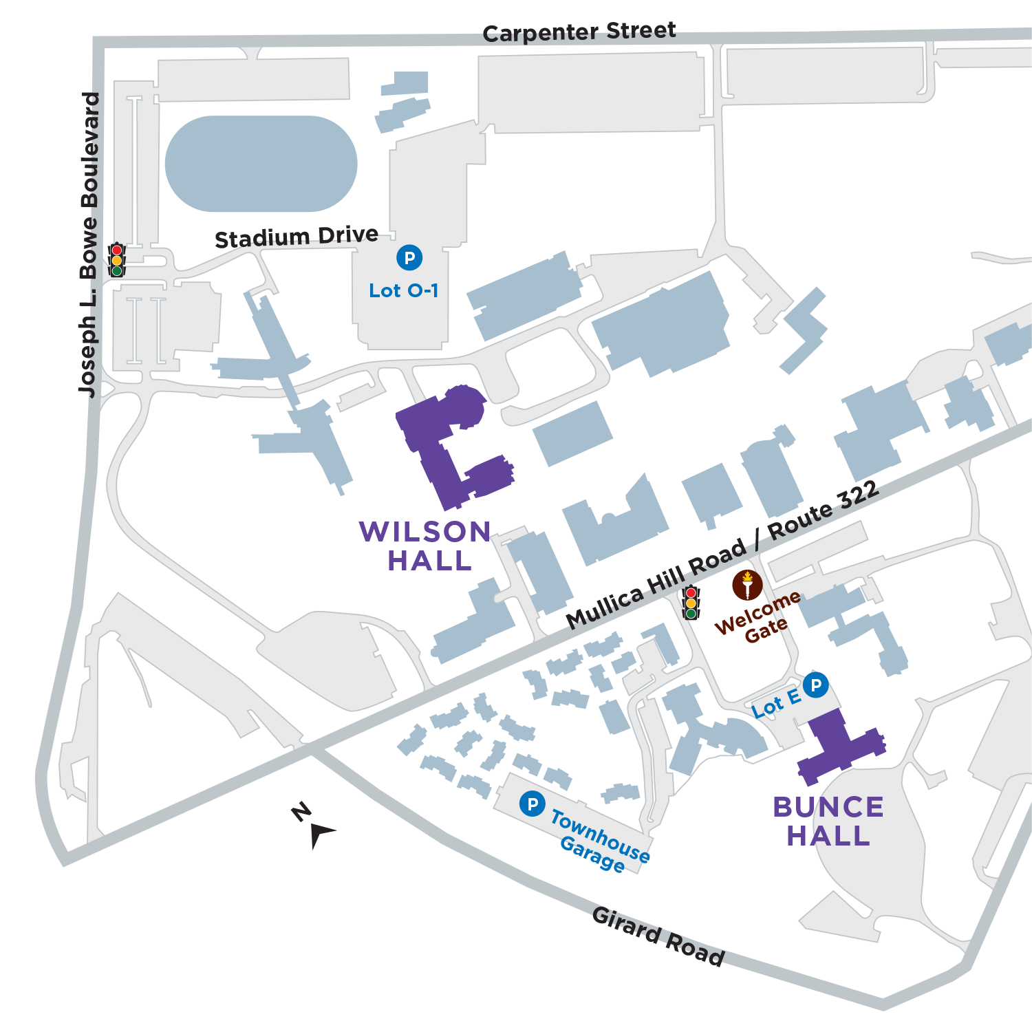 Map of performing arts buildings and parking on campus